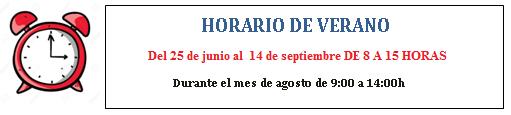 Les recordamos que a partir del lunes 25 empezamos con el HORARIO DE VERANO: